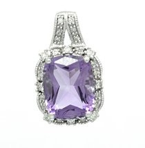 925 Sterling Silver Genuine Amethyst 0.12 Ct Diamond Pendant with Silver Chain image 1