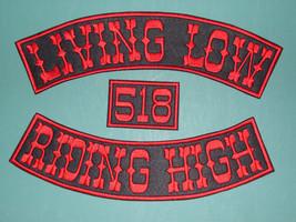 """CUSTOM BIKER ROCKER CLUB SEW-ON PATCH 3 pc SET CHOOSE COLORS FONT 12"""" Mo... - $49.99"""