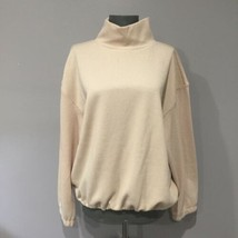 Alkamy Cream Bungee Drawstring Ribbed Sweater Mock Neck Size Large - $14.49