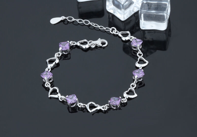 925 Sterling Silver Bracelet with Top Quality Zircon DL2 image 3