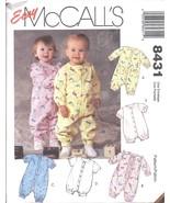 8431 UNCUT McCalls Pattern Infant Baby Jumpsuit Romper Easy OOP snap crotch SEW - $4.19