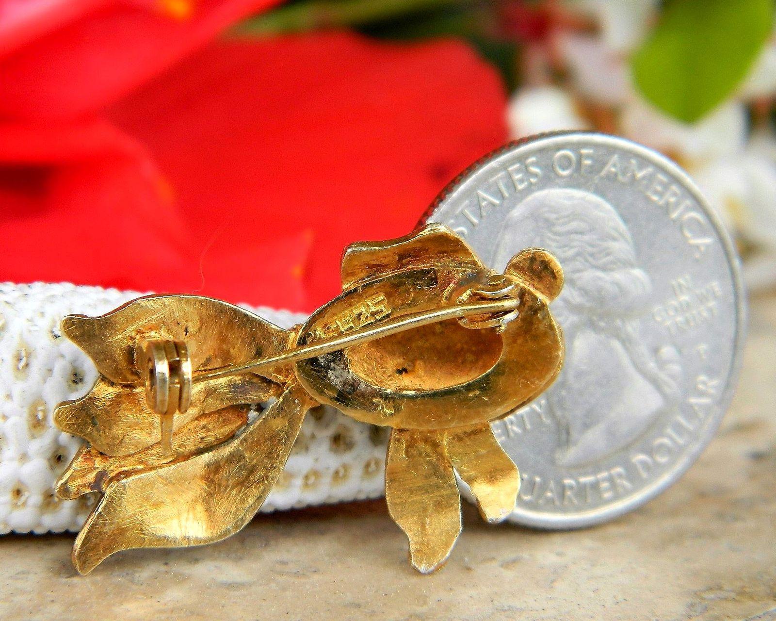 Vintage Fish Koi Fancy Tail Brooch Pin Enamel Sterling Silver Vermeil