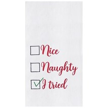 Nice Naughty I Tried Christmas Holiday Embroidered Kitchen Flour Sack Di... - $23.76