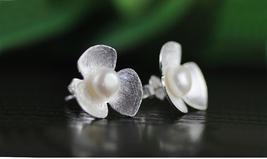 Natural Pearl Handmade Fine Jewelry Cute Fresh Clover Flower Stud Earrings - $23.50