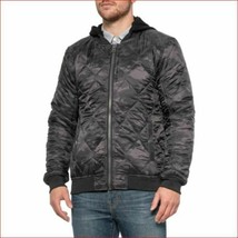 new PROJEK RAW men jacket hooded full zip 133570 black camo sz L - $36.69