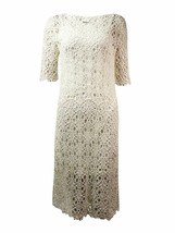 2807-2 Lauren Ralph Lauren Womens Lace Elbow Sleeves Casual Dress White ... - $76.22