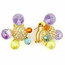 Women's Brass Gold CZ Orange Yellow Blue Purple Multicolor Earrings - $54.95