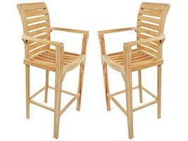 Genuine Grade A Teak St. Moritz Counter Height Arm Chairs (Set of 2)  - $990.00