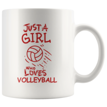 Just a Girl Who Loves Volleyball 11oz Ceramic Coffee Mug Gift Red Text - $19.95
