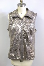 WEEKENDS by CHICO'S Women's XL 3 Metallic Gold Paisley Print Full Zip Ve... - $44.50