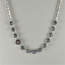 WHITE GOLD PLATED BRONZE REBECCA TENNIS NECKLACE BPBKBL54 MADE IN ITALY 15.75 IN image 2