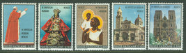 1970 Travels of Pope Paul VI Set of 5 Vatican Stamps Catalog Number 495-99 MNH