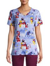 "Scrubstar Women's Disney's Pooh Love Your Snowman"" V-Neck Print Scrub To... - $21.49"