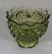 Fenton Hobnail Single Candle Holder Avocado Green Taper or Column Sticke... - $4.46