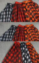 Orange Plaid Skirt High Waisted Long Plaid Skirt Plus Size image 5