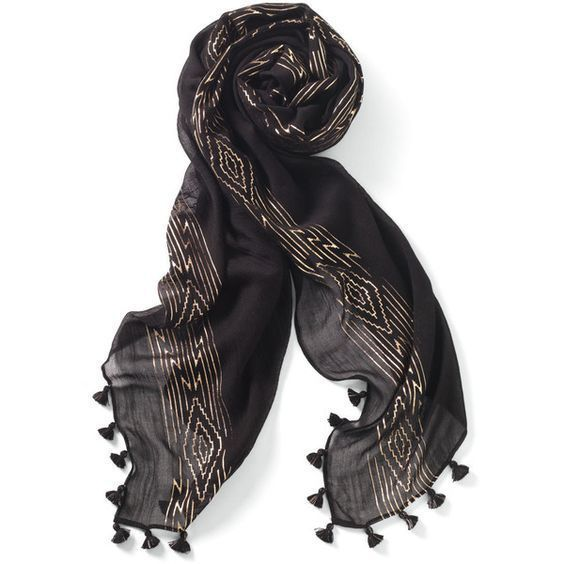 "GENUINE STELLA & DOT Westwood Tassel Scarf Wrap BLACK ROSE GOLD 38""x70"" Packaged"