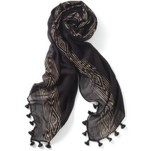 "GENUINE STELLA & DOT Westwood Tassel Scarf Wrap BLACK ROSE GOLD 38""x70"" ... - $21.80"