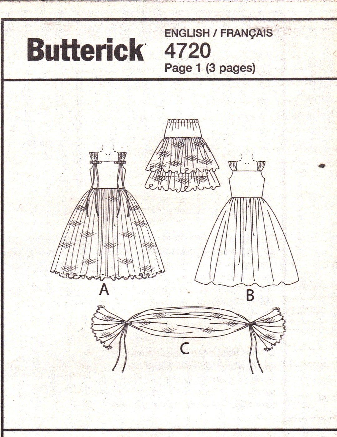Butterick B4720 Girls Sewing Pattern Formal Dresses Wrap Childrens Sizes 2-3-4-5