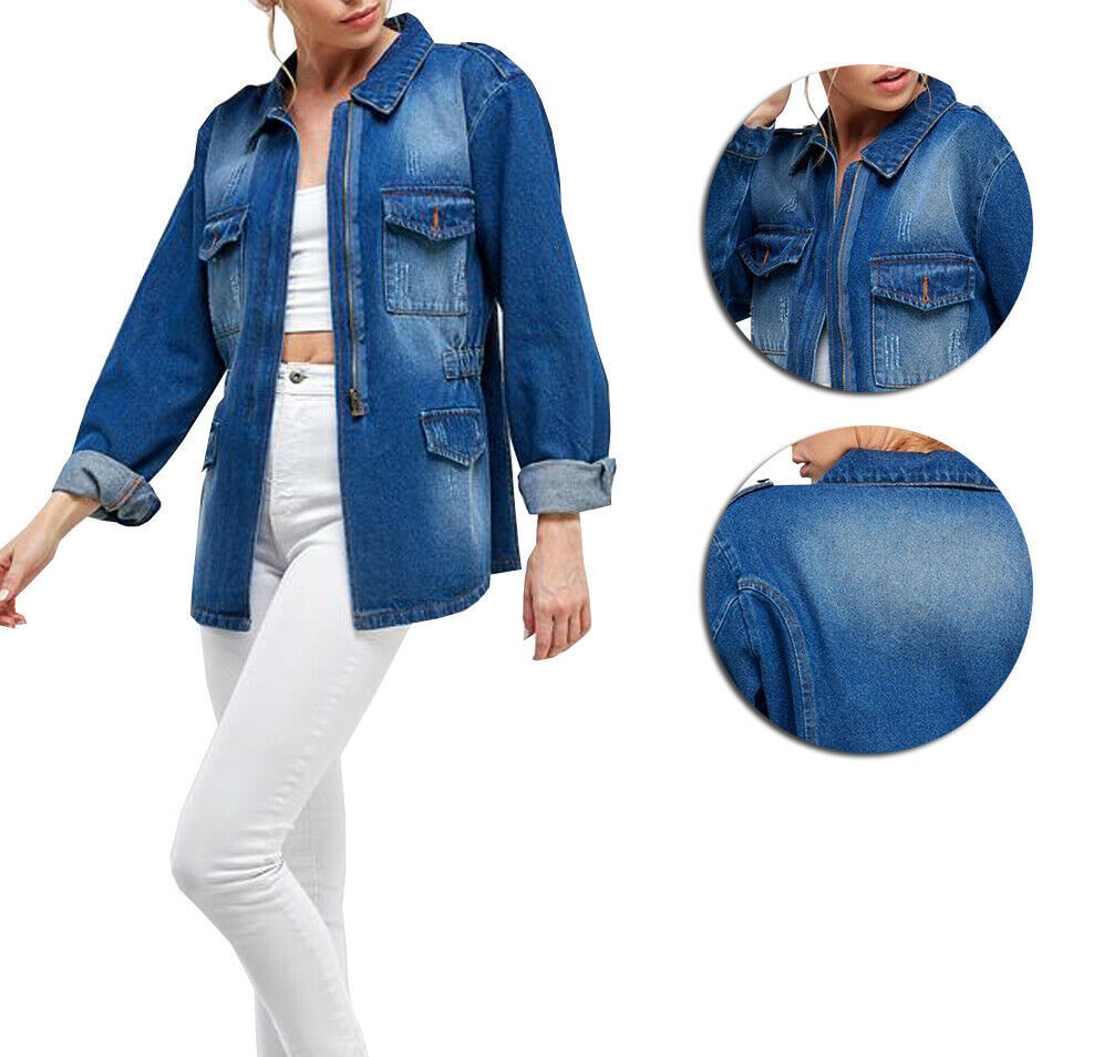 Women's Half Zipper Lightweight Cotton Distressed Oversize Denim Jean Jacket