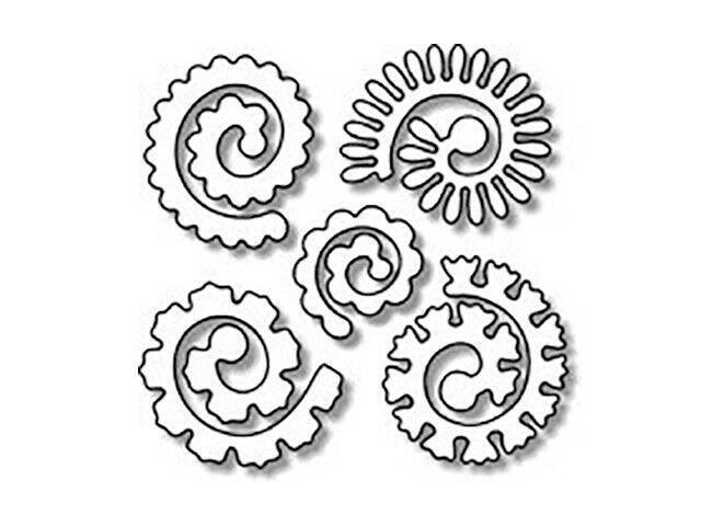 Impression Obsession Spiral Flowers Dies, Set of 5 #DIE042-1