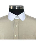 Club collar Mens Peaky Blinders style Penny collar shirt Round Brown che... - $28.47