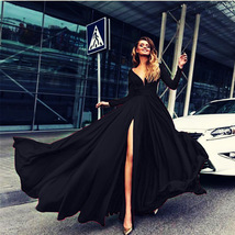 Black  V-Neck Front Slit Long Prom Dress  Sleeve Summer Women Party Gown... - $32.44