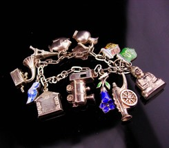 Vintage 800 Silver 13 charm bracelet / cannon / train / Eiffel tower / v... - $145.00