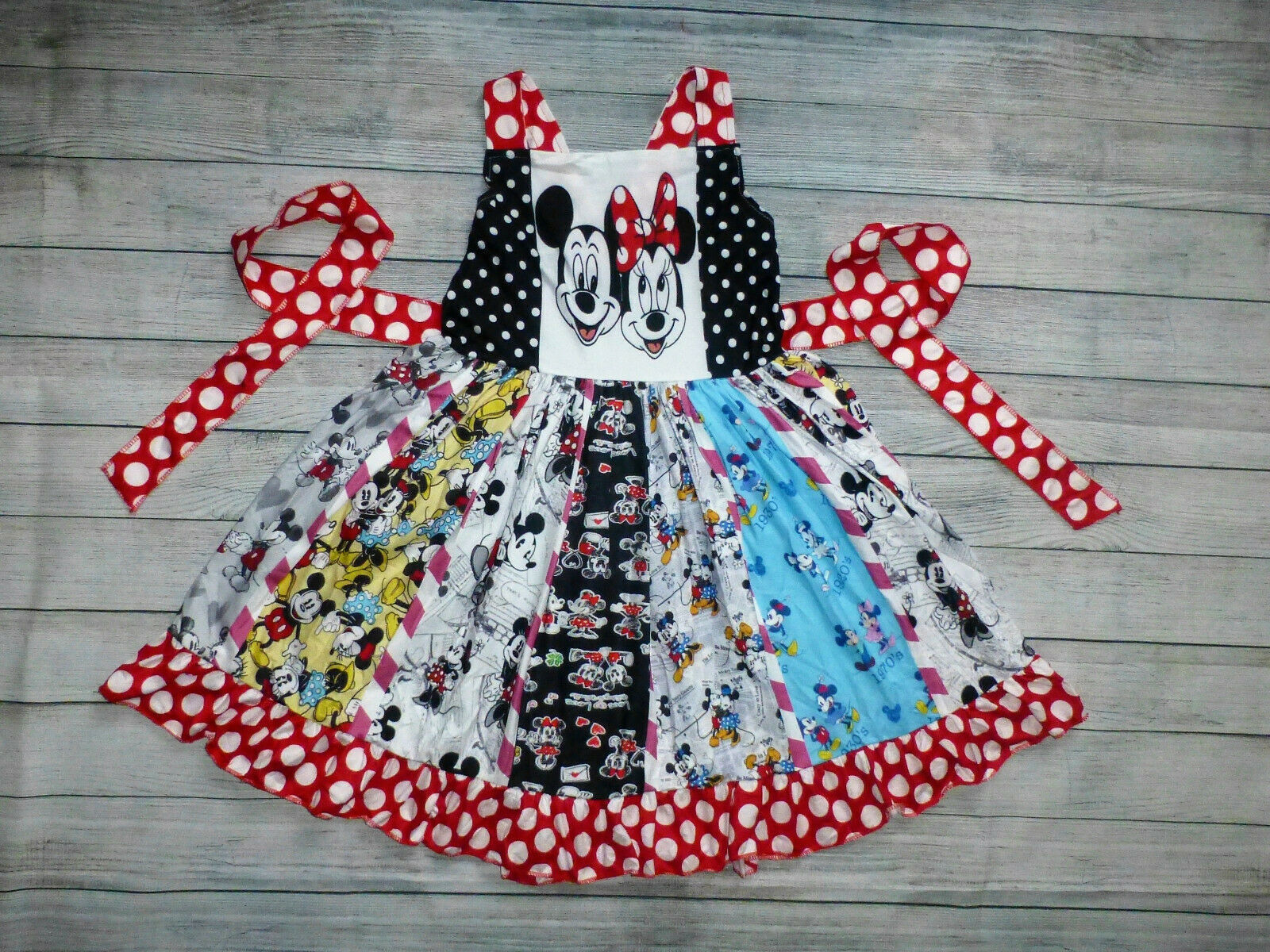 Primary image for NEW Boutique Mickey Minnie Mouse Girls Sleeveless Ruffle Twirl Dress