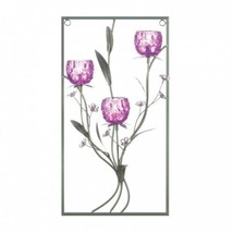 Magenta Flower Three Candle Wall Sconce - $34.99