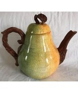 DEPARTMENT 56 PEAR Fruit Tall Large Teapot Hand Painted FRESCO - $59.39