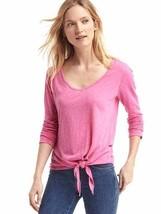 GAP Women's V-neck Knot Slub Tee, Cotton Blend, Pink, Solid, Size L, NWT - $22.49