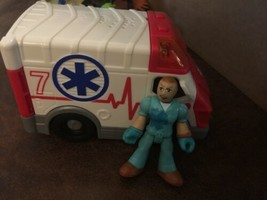 RARE! Fisher Price Imaginext Rescue Ambulance - Lights & Sounds Paramedic driver - $24.74