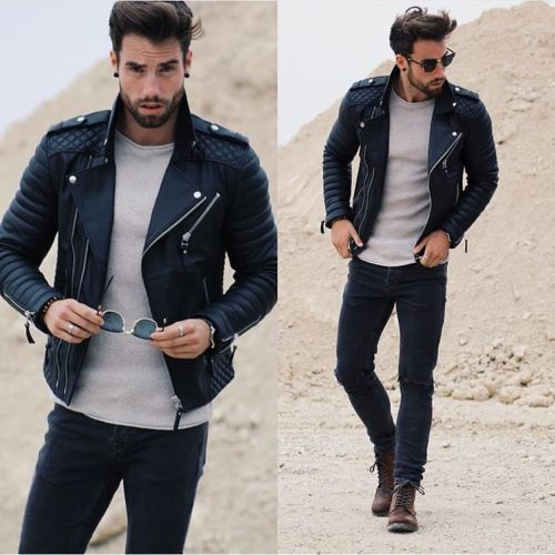 Primary image for Men Cowhide Quilted Leather Motorcycle Jacket Slim fit Biker Brando Jacket