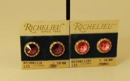 Vintage Richelieu Purple Pink Stone Gold Tone Clip On Earrings Lot of 2 ... - $14.85