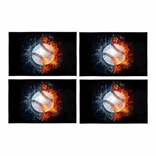 InterestPrint Baseball Ball in Fire and Water Washable Fabric Placemats Set of 4