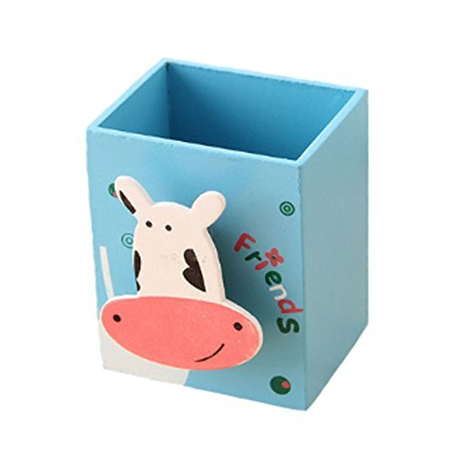 Primary image for Cute Wooden Pencil Pen Stand Holder Stationery Organizer Desk Accessory - Cow