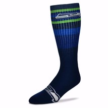 NFL Seattle Seahawks Multi Color Stripe Mens Crew Cut Socks - Large - $7.95