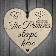 The Princess Sleeps Here Wooden Hanging Heart Bedroom Plaque Girls Door ... - $11.99