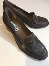 Beautiful NINE WEST Shoes Loafers Work Dress Heels US 6.5M Brown Leather - €17,40 EUR
