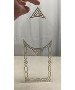 """Antique Clock Door Glass W/ Gold Decoration Stencil 4 2/8"""" wide x 10 1/2... - $9.89"""