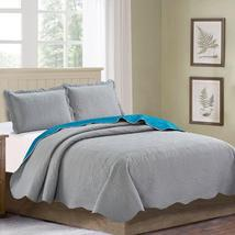 Sherry 3 Piece Solid Reversible Quilt Set Down Comforters - $54.98