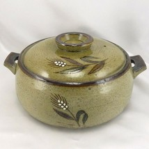 "Stoneware Glazed Grain Stalk Bean Pot 9"" x 4.5"" Earth Tones Casserole Di... - $39.95"