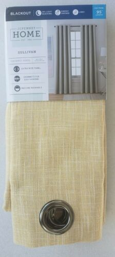 Primary image for NEW IN BOX (1) JCP Home Sullivan YELLOW Blackout Grommet Curtain Panel 50 X 95