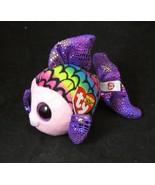 "TY Beanie Boo FLIPPY Fish Plush Rainbow Purple Glitter Eyes 6"" NWT - $6.88"