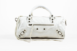 "Balenciaga White Leather Classic Stud ""Twiggy"" Satchel Bag - $12.836,61 MXN"