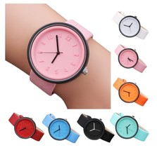 Round Simple Fashion Watches Canvas Belt Unisex Casual Wristwatch Box image 1