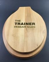 Vintage The Trainer Cribbage Board Wood Toilet Seat Shape 6 Metal Pegs - $19.75