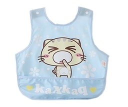 Lovely Cartoon Cat Waterproof PVC Feeding Baby Bibs Blue