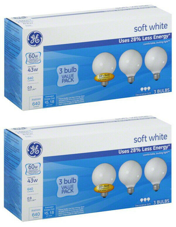 Lot of 6 GE 43W Decorative G25 Soft White Incandescent Bulbs, 3 Pack, 750 Lumens - $10.97