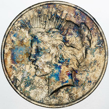 1923-P PEACE SILVER DOLLAR VIBRANT TONED BU UNC NATURALLY COLORED (MR) - $296.99